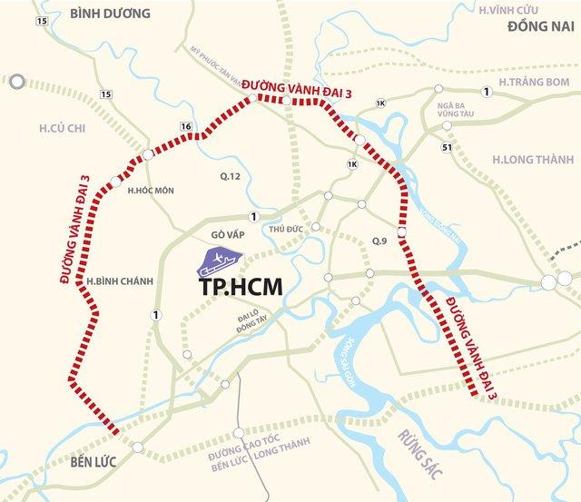 Đường vành đai 3 – TP.HCM dự kiến nằm ở đâu